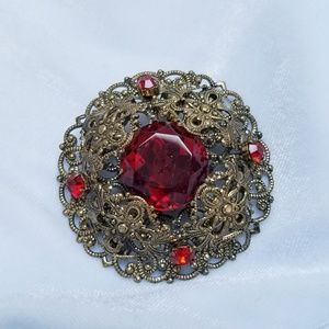 VTG Filigree Red Crystal Goldtone Dome Brooch